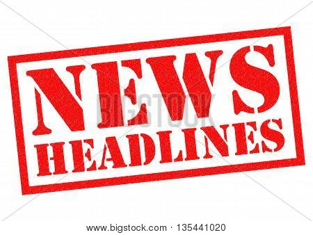 NEWS HEADLINES red Rubber Stamp over a white background.