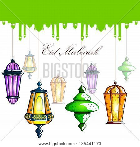 vector illustration of Eid Mubarak Blessing for Eid background with Islamic mosque