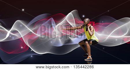 Sportsman practising the shot put against blue design