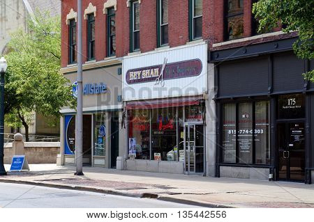 JOLIET, ILLINOIS / UNITED STATES - JUNE 3, 2015: One may have one's hair cut and styled at the Bey Shah Hair Boutique in downtown Joliet.
