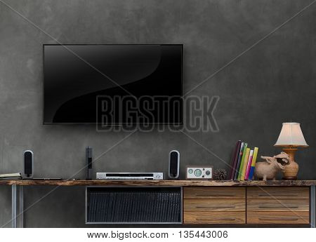 led tv wooden media furniture with concrete wall in living room