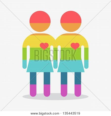 Lesbian icon. Gay couple gay women. Conceptual image of gay love and gay family. Objects isolated on a white background. Flat vector illustration.