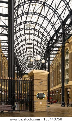 LONDON ENGLAND - OCTOBER 21, 2015: Hay's Galleria a mixed use building in the London Borough of Southwark situated on the south bank of the River Thames including offices restaurants shops and flats
