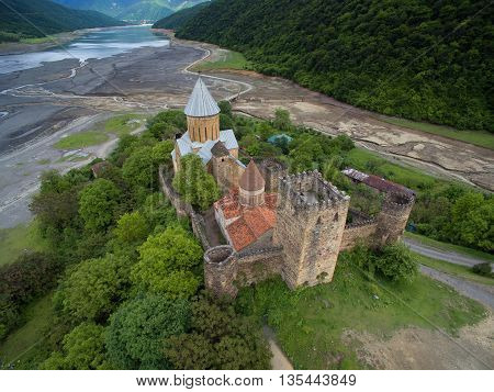 Photos from the air Ananuri fortress on a background of a dried river Aragvi shot quadrocopters DJI Georgia