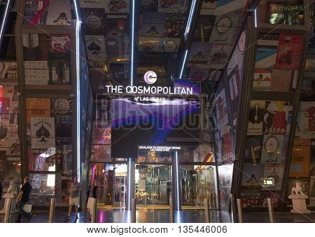 LAS VEGAS - APRIL 13 : The Cosmopolitan hotel in Las Vegas on April 13 2016. The Cosmopolitan opened in 2010 and it has 2995 rooms and 75000 sq ft casino.