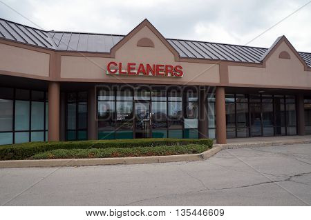 SHOREWOOD, ILLINOIS / UNITED STATES - AUGUST 30, 2015: One may have one's clothes cleaned at the Cleaners store in Shorewood's Apple Tree Plaza.