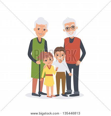 Family portrait of Grandparents with grandchildren. Vector cartoon illustration.
