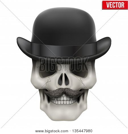 Human skull with black bowler hat. Vector Illustration on isolated white background