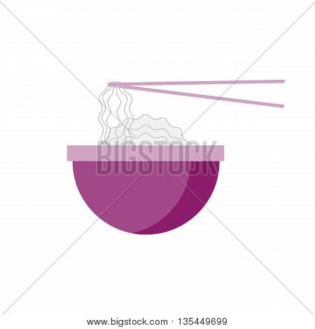 Flat noodles illustration. Street spaghetti icon. Fresh udon vector with asian sticks. Isolated rice noodles on white background. Street fast food