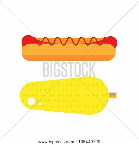 Flat hot dog illustration. Street vegetable and wiener icon. Fresh corn vector. Isolated american grilled hot-dog on white background. Street fast food