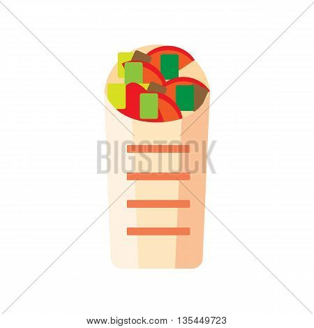 Flat shawerma illustration. Street shaurma icon. Fresh sandwich vector with tortilla. Isolated pita on white background. Mexican Street fast food