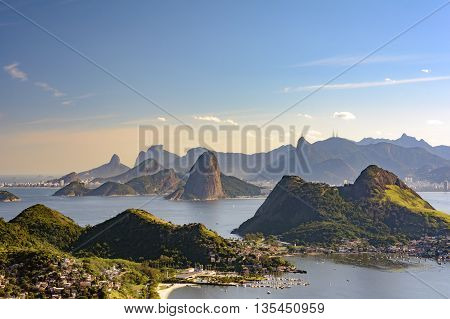 View of Guanabara Bay Sugar Loaf and hills of Rio de Janeiro from the City Park in Niteroi