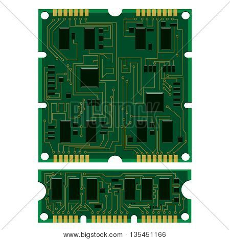 Vector illustration set electric circuit board various IC chips and electronic components. Green RAM memory chip on white background. Circuit board different isolated