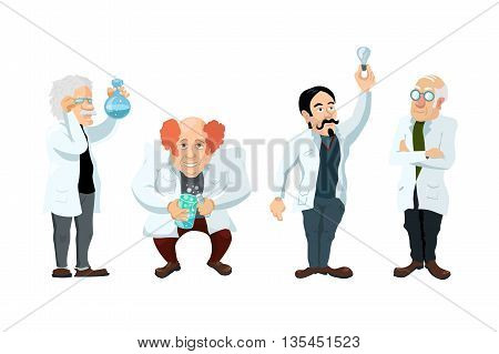 Set of four cute cartoon scientists characters isolated on white