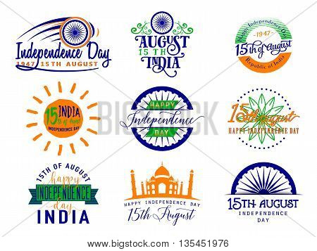Vector illustration of India independence day. Felicitation 15th august. Greeting template for web or print emblem, badge, label, style logo design. Indian flag color element isolated on white