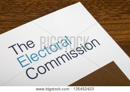 LONDON UK - JUNE 16TH 2016: The logo of The Electoral Commission on the top of an information booklet on 16th June 2016. The organization regulates party and election finances.