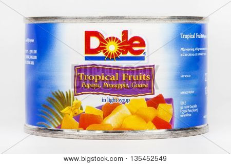LONDON UK - JUNE 16TH 2016: A tin of Tropical Fruit in Light Syrup produced by Dole Food Company taken on 16th June 2016. Dole Food Company Inc are based in California and are the largest producer of fruits and vegetables in the world.