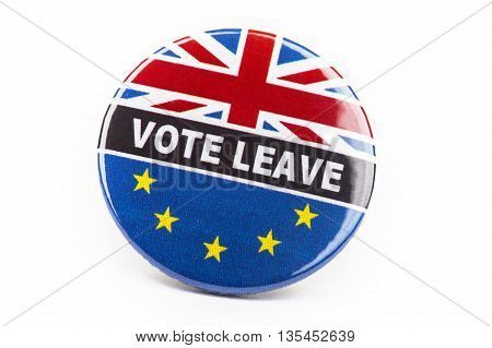 LONDON UK - JUNE 16TH 2016: A Vote Leave pin badge over a white background - referring to the upcoming Referendum on the UK's membership in the European Union taken on 16th June 2016.
