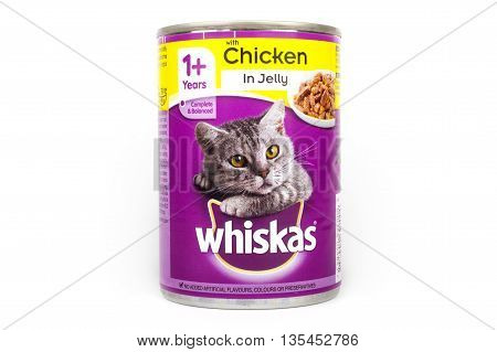 LONDON UK - JUNE 16TH 2016: A tin of Whiskas Cat food pictured over a plain white background on 16th June 2016. The Whiskas brand is owned by American company Mars Incorporated.