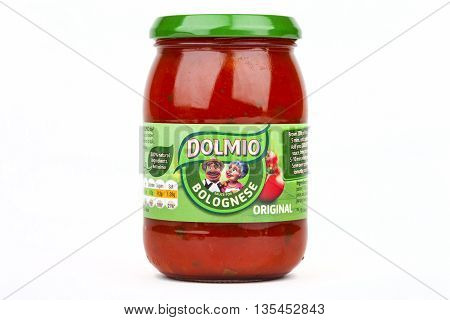 LONDON UK - JUNE 16TH 2016: A jar of Dolmio Bolognese Sauce over a white background on 16th June 2016. Dolmio is a brand of Pasta Sauces made by Mars Incorporated.
