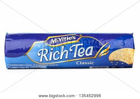 LONDON UK - JUNE 16TH 2016: A packet of Original McVities Rich Tea Biscuits on 16th June 2016. McVities is a brand of British snack food and is owned by United Biscuits.
