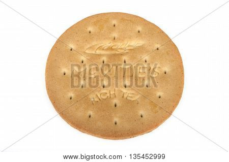 LONDON UK - JUNE 16TH 2016: A McVities Rich Tea Biscuit isolated over a plain white background on 16th June 2016. McVities is a brand of British snack food and is owned by United Biscuits.
