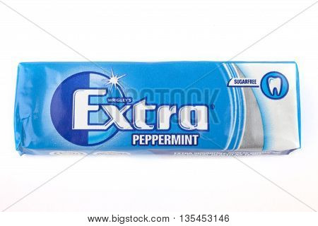 LONDON UK - JUNE 16TH 2016: A pack of Wrigleys Extra Sugarfree Peppermint Chewing Gum over a plain white background on 16th June 2016.