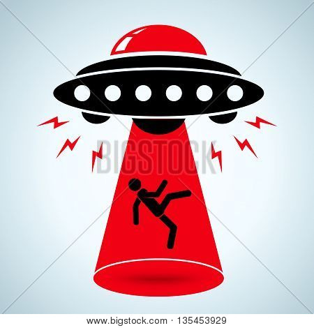 Vector illustration of an alien abduction of human