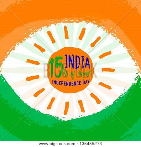 Vector illustration of Indian flag theme greeting background for 15th august Independence day with light wheel, felicitation sun logo element, grunge texture isolated on white, clipping under mask.