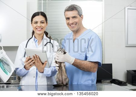 Female Doctor With Tablet Computer By Coworker Holding Weasel