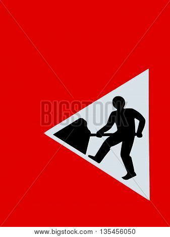 Abstract Creative British Roadworks Sign Scene England