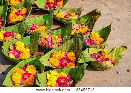 Puja flowers for aarti ceremony ritual, India