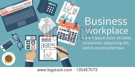 Business desktop with documents laptop and office equipment. Documents for the analysis and strategy with charts and diagrams. Workplace concept. Vector illustration flat design.