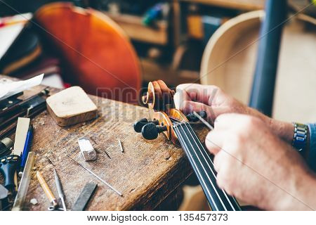 Luthier repair broken violin in his workshop