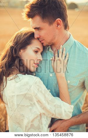 Young Couple In Love Outdoor.d.couple Hugging.young Beautiful Couple In Love Staying And Kissing On