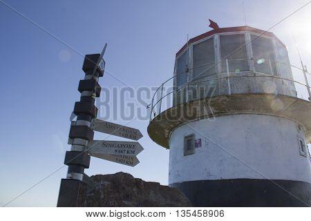 cape point, vuurtoren, afstandspijl, kilometers, Kaap de Goede Hoop