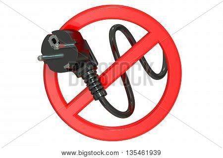 no power concept 3D rendering. Forbidden sign isolated on white background