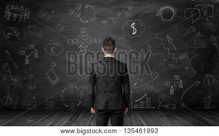 Back view of businessman looking at a black wall with hand-drawn graphics pictures and diagrams related to economics and statistics. Making money. Increase in profits. Prosperous business. Srategic calculation and research. Financial and business concept.