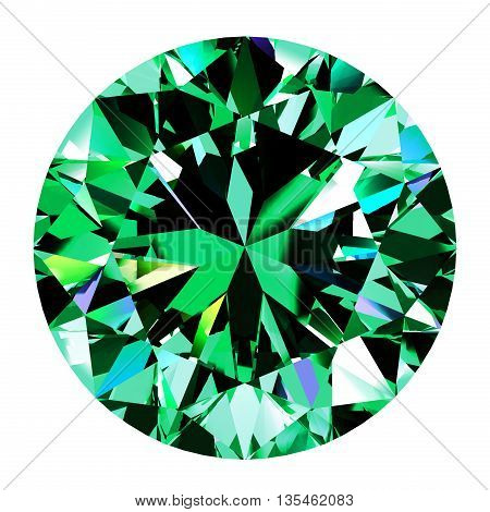 Emerald Round Over White Background. 3D Illustration.