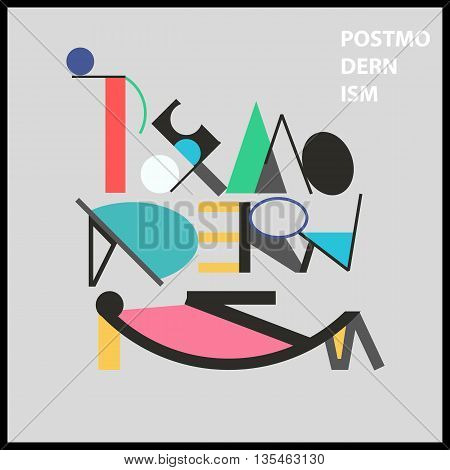 Postmodernism word and sarcastic face. Geometric bright colorful poster in Memphis style for interior design. Abstract Symbol