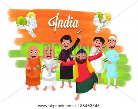Illustration of different religion people showing Unity in Diversity, Creative Background with saffron and green brush stroke, flying pigeon and balloons for Indian Independence and Republic Day.