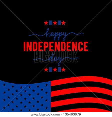 Fourth of July background. Felicitation classic postcard. USA Happy Independence day greeting card. Vector illustration with flag, stars, lettering for congratulation american isolated on black.