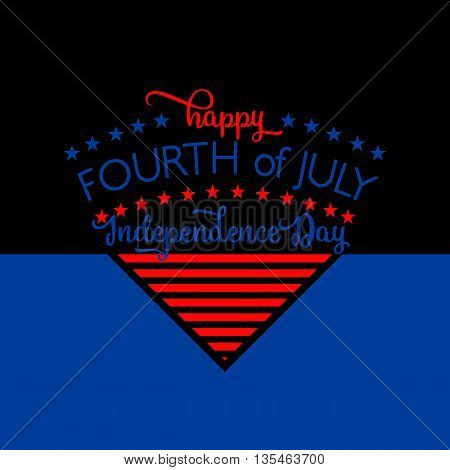 4th of july background. Fourth of July felicitation triangle element postcard. USA Happy Independence day greeting card. Vector illustration with star,s and stripes lettering for congratulation America on black
