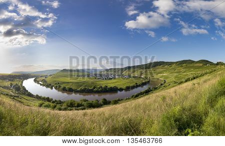 famous Moselle Sinuosity in Trittenheim germany under afternoon sky