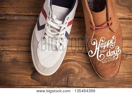 fathers day greeting against casual and dressy mens shoes