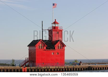 Colorful Big Red or Holland Lighthouse in Michigan