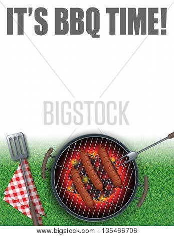 Summer illustration of Its BBQ Time, can be use for a poster