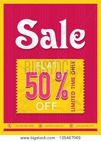 Stylish Sale Flyer, Flat 50% Discount Offer for Limited Time Only. Vector Sale Illustration.