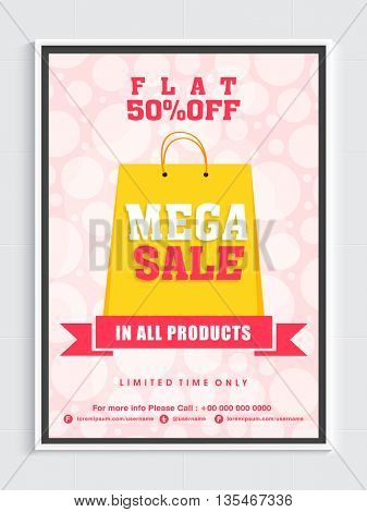 Flat 50% Off in all products, Limited Time Sale, Stylish Sale Background, Vector illustration.