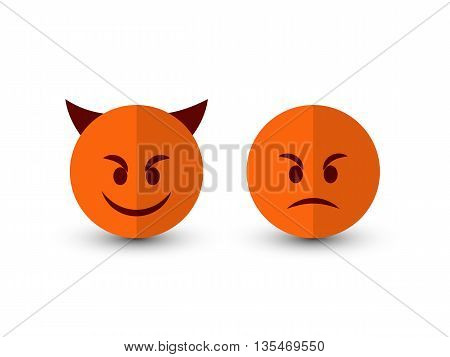 Set of emoticons isolated on a white background. Devil icon. Evil emoticon. Flat style illustration